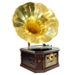 PYLE-HOME PVNP4CD Vintage Phonograph Horn Turntable with CD, Cassette, AM/FM, Aux-In and USB-to-PC Recordin
